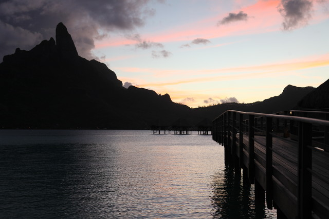 Bora Bora sunset and the Le Meridien pier 1