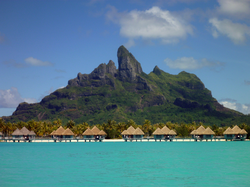 Mount Otemanu and a row of overwater bungalows