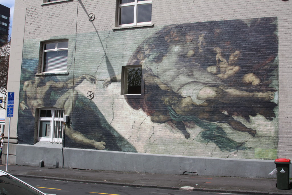 Graffiti version of The Creation of Adam